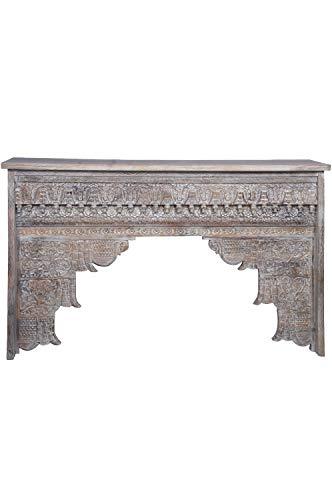 Orientalische Konsole Sideboard schmal Hadidza Antik 150cm | Orient Vintage Konsolentisch orientalisch handgeschnitzt | Landhaus Anrichte aus Holz massiv | Asiatische Deko Möbel aus Indien