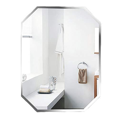 YiYi Bathroom mirror Espejo de baño montado en la Pared, WC de Maquillaje de Hotel Espejo de vanidad sin Marco Arte de octágono con Estilo Moderno con Bisel 45 × 60 cm