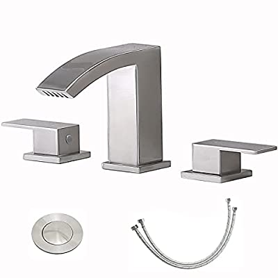 Friho Modern Widespread 3 Hole Waterfall Brushed Nickel Bathroom Faucet, Extra Large Rectangular Spout Bathroom Vanity Sink Faucet with Pop Up Drain and Supply Lines