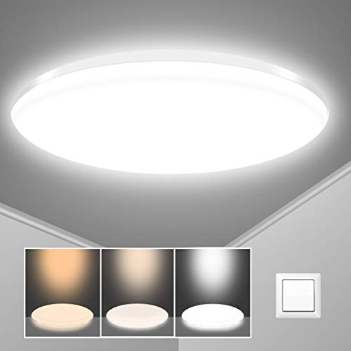 LED Deckenleuchte 24W, SUNZOS IP54 Wasserdichte Badlampe, 2040LM Farbtemperatur Umschaltbar 3000K / 4000K / 6500K, Deckenlampe für Bad Küche Balkon Flur Schlafzimmer Wohnzimmer, Ø37cm