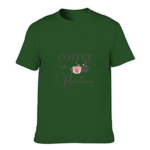 Camiseta de algodón para hombre, diseño con texto en alemán 'Kaffee ist Mein San Valentín' Dark Green001. XXXXXXL