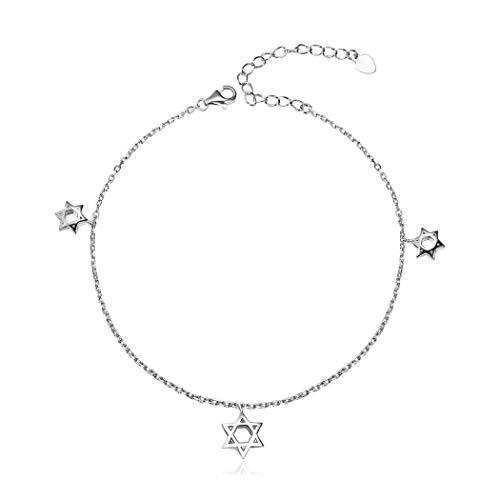 ChicSilver Davidstern Fußkette aus 925 Freundschaft Armband schöne Fußkette Freundschaftkette Charm Kette für Tochter/Liebe/Mama