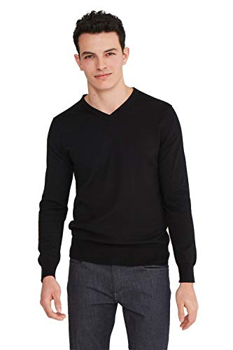 State Cashmere Men's Basic V-Neck Sweater Cotton Cashmere Lightweight Essential Long Sleeve Pullover (Black, Small)