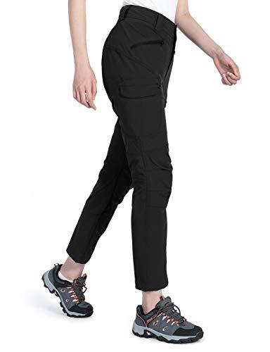 Wespornow Damen-Wanderhose-Schnelltrocknend-Trekkinghose, Lang-Outdoor-Hose-Atmungsaktiv Leicht Outdoorhose Verschleißfester Sommer Funktionshose mit Reißverschluss Taschen (Schwarz, L)