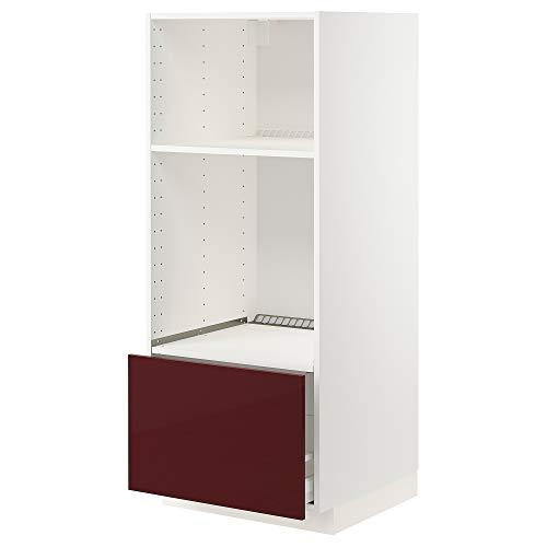 METOD/Maxim hög hytt för ugn/micro med låda 60 x 61 x 148 cm vit Kallarp/högglans mörkrödbrun