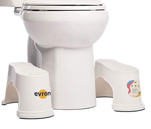 Evron Ultraportátil Tocador Taburete 7' Baño Apilable en Cuclillas Taburete Blanco, Original Apilable Diseño Compacto Espacio Ahorro de Almacenamiento