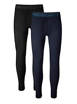DAVID ARCHY Men's 2 Pack Ultra Soft Winter Warm Base Layer Pants Fleece Lined Thermal Bottoms Long Johns with Fly (S, Black/Heather Navy Blue)