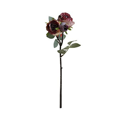 Techting 3-Kopf künstliche Rose Blumen-Blumenstrauß-Simulation Rose künstliche Blume Blumenstrauß Blumendekor Hochzeit Gefälschte Blume, Welken Blattfarbe