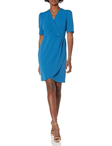 NINE WEST Women's Faux Wrap Dress, Alpine Blue, 18
