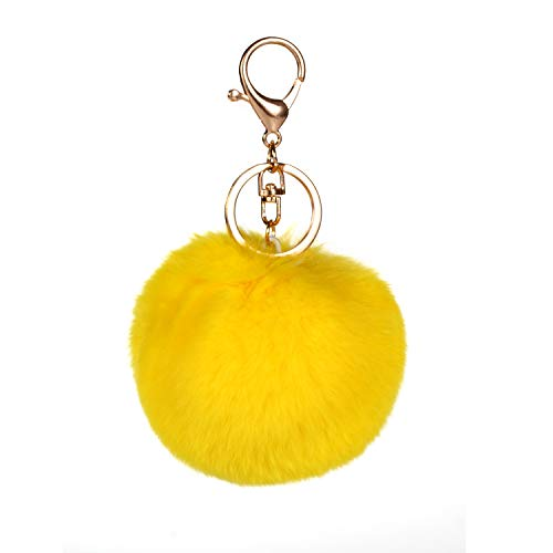 Prince2018 Ball Pom Pom Keychain Genuine Fur Ball Keyring Fluffy Accessories Car Bag Charm (yellow)