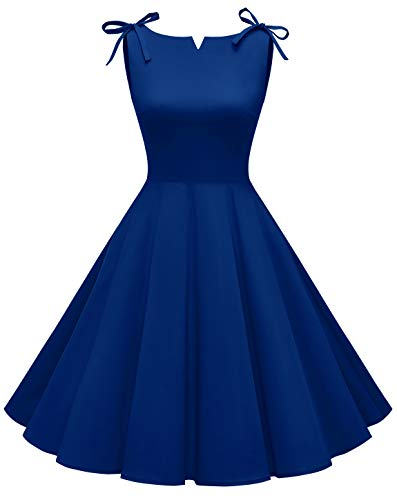 MuaDress 1958 1950er Vintage Kleider Ärmellos Elegant Retro Cocktailkleid Faltenrock Royalblau XL
