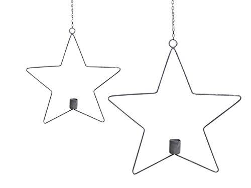 Chic antieke ster kandelaar met snoer brocante ijzer Ø 28 cm Decoratieve ster