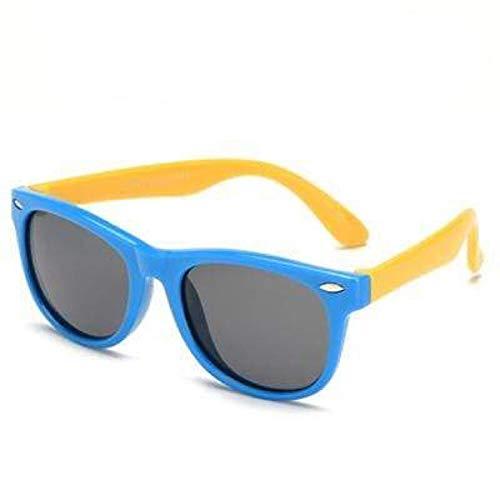 Boolavard Lunettes de soleil flexibles pour enfants Polarisées Enfant Bébé Protection Revêtement Lunettes de soleil UV400 Lunettes (Bleu Jaune)