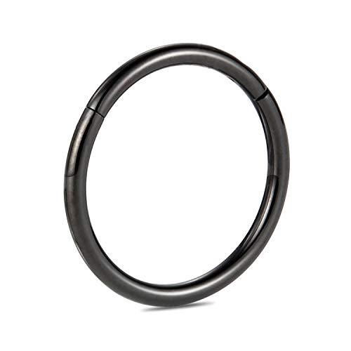PEAKLINK G23 Titanium 18G 6mm Hinged Segment Clicker Nose Ring Septum Hoop Cartilage Earrings Helix Counch Body Piercing Black