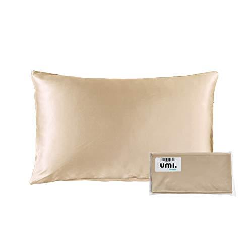 UMI. by Amazon - Seide Kissenbezug mit Reißverschluss 19 Momme Maulbeerseide Bettkissenbezug 1 Stück, Beidseitig 100% Seide (Champagner, 40x60cm)