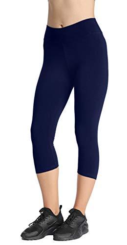 4How Sport Leggings Damen 3/4 Capri Leggins Baumwollleggings Sporthose Laufhose blickdicht Yoga Pants Tights Strumpfhosen Damen Basic Leggins Dunkelblau XL