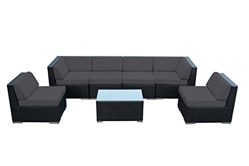 Genuine Ohana Outdoor Patio Wicker Sectional Furniture 7pc Sofa Set (Sunbrella Coal)-No Assembly with Free Patio Cover