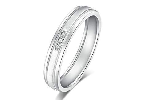AnazoZ 18K Oro Blanco Anillos Unisex Oro Blanco Anillos Unisex Redondo con Diamante Blanco 0.03ct Talla 28