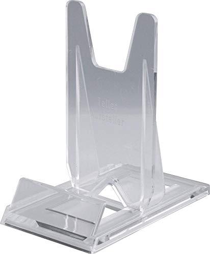 Home Xpert Telleraufsteller, Tellerständer, Tellerhalter, transparent, 7 cm breit, 12 cm tief, 12 cm hoch, für Teller von Ø 13 bis 40 cm