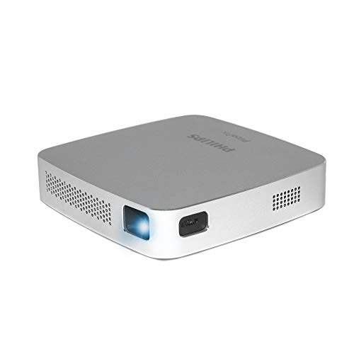 Philips PicoPix Go PPX5110 LED I Tragbarer Projektor | Integrierter Lautsprecher | 70 Minuten Akku | 100 Lumen | Bluetooth Technologie | HDMI | Micro USB | RGB LED | Silber (Generalüberholt)