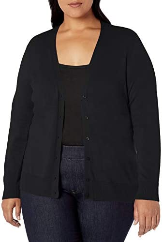 Amazon Essentials Women s Plus Size Lightweight Vee Cardigan Sweater Black 3X product image