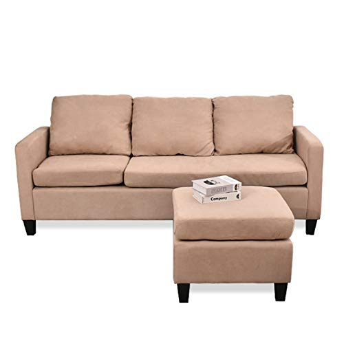 URRED L Shaped Sectional Couch for Living Room, Small Space Sectional Couches Sofas with Reversible Chaise and Ottoman, 3 Seater Couch for Small Space Apartment Under Fabric (Beige)