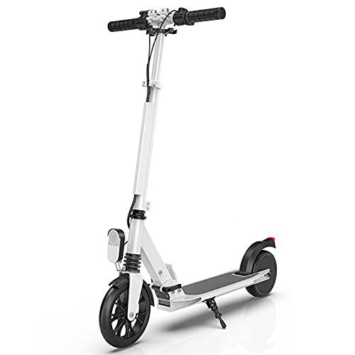 Wheel Scooter Patinete eléctrico suspensión Doble Roller Plegable Ajustable Altura, City Scooter Patinete de Grandes Ruedas, robustos con rodamientos, para Niños y Adultos,Blanco