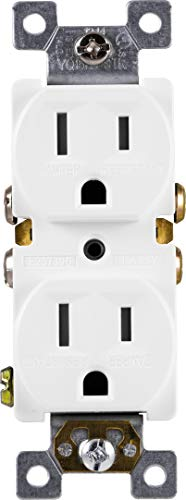 GE Grounding Duplex Outlet, In Wall Receptacle, Tamper Resistant Outlets, 3 Prong Electrical Socket, Easy Install, 15 Amp, UL Listed, White, 54263