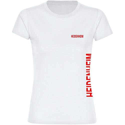 Multifanshop Damen T-Shirt Heidenheim seitlich - Schriftzug auf der Brust und auf der Seite - weiß - Größe S bis 3XL - Fußball Fanartikel Fanshop,Farbe:weiß,Größe:XXL