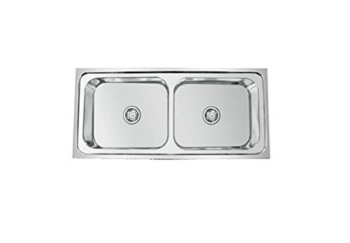 CROCODILE 304 Grade Stainless Steel Double Bowl Kitchen Sink (45' x 20' x 9', Glossy)