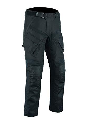 Sportliche Motorrad Hose Motorradhose Schwarz mit Oberschenkeltaschen (L, Schwarz)