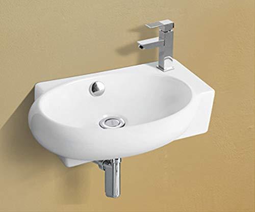 1 lavabo KERAMIK montaggio a parete ovale rettangolare in ceramica bagno piccolo 40 x 28 x 12 cm