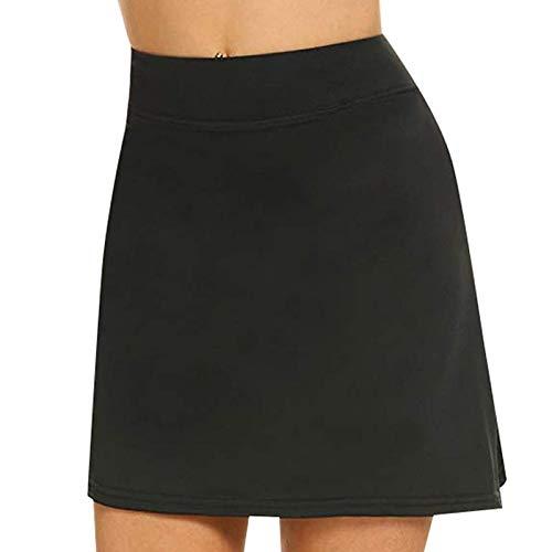 eamqrkt Mujer Anti-frotante Lápiz Faldas con Pantalones Cortos Tenis Golf Ejercicio Deportivo Pantskirts - Negro, Medium