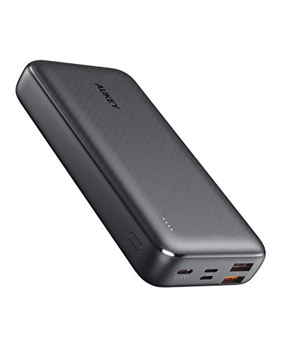 AUKEY 20000mAh Power Bank with 18W PD, Large-Capacity USB C Portable Charger with 3 Outputs & 3 Inputs, Power Bank for iPhone with Lightning Input, USB-C Power Bank for Samsung Galaxy etc