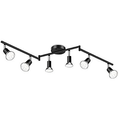 Ascher 6-Light LED Track Lighting Kit, Flexibly Rotatable Light Heads, 6 Way Ceiling Spotlight Black Finish, Including 6 GU10 LED Bulbs (4W 400LM Daylight White 5000K)