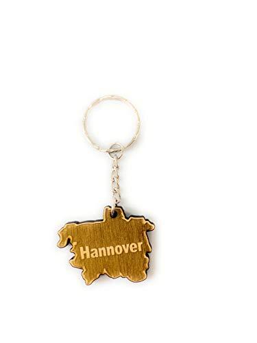 Schlüsselanhänger aus Holz Hannover graviert tolles Geschenk für Frauen und Männer Handmade in Germany 4cm x 3cm