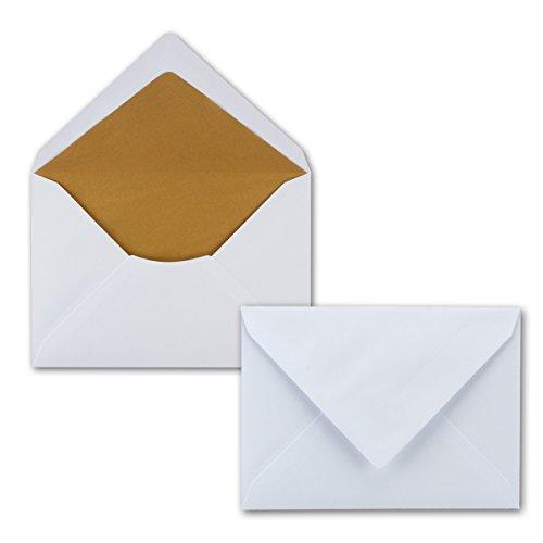 25 x Briefumschläge in Weiss mit goldenem Seidenfutter, DIN B6 12,5 x 17,6 cm, Nassklebung ohne Fenster - Ideal für Hochzeits-Einladungen Grußkarten Weihnachtskarten