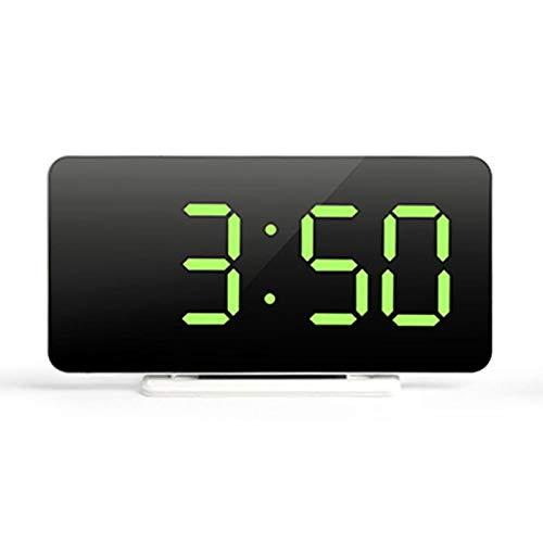 Rubeyul Reloj Despertador Digital, LED Pantalla Reloj Alarma Inteligente con Temperatura, Despertador del Espejo con 3 Brillos, Puerto de Carga USB, 12/24 Horas, Snooze, para Dormitorio, Oficina