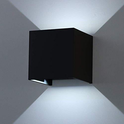 K-Bright Moderne zwarte led-wandlamp met instelbare stralingshoek design IP 65 buiten wandlamp voor slaapkamer, woonkamer, koud wit, aluminium, 12 W, 12 W, zwart case, koud wit