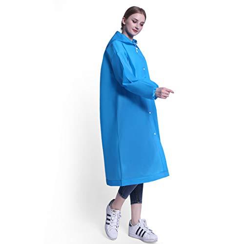 Iwinna - Poncho de lluvia para adultos EVA grueso, reutilizable, con capucha, impermeable, para hombres y mujeres, camping, senderismo, color azul