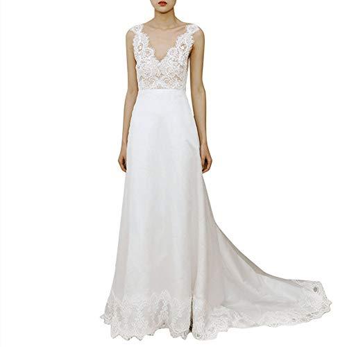 CHENSHJI Braut-Kleid-Damen V-Ausschnitt Spitze Applique Court Gürtel Brautkleid ist sehr geeignet for Kirche Strand-Hochzeit Brautkleid Brautkleid (Color : White, Size : 6)