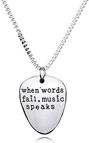 Yiffshunl Collar Cuando Las Palabras fallan, la música Habla, púa de Guitarra, Colgante, Collar, Letras Unisex, Colgante, Collar, Entusiasta de la música, Parejas, Collares, Regalos