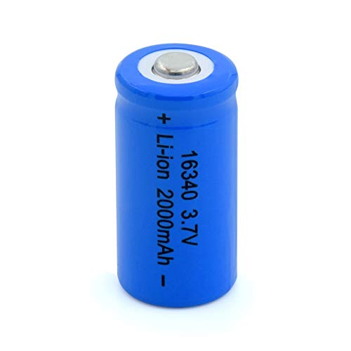 Rechargeable Batteries 3.7V 16340 2000Mah Blue Li-Ion Batteries Replace 3.7V 2 Pieces