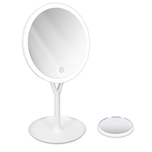 Navaris LED Kosmetikspiegel mit 5fach Vergrößerungsspiegel - Schminkspiegel Set Make Up Schmink Spiegel Standspiegel beleuchtet - in Weiß