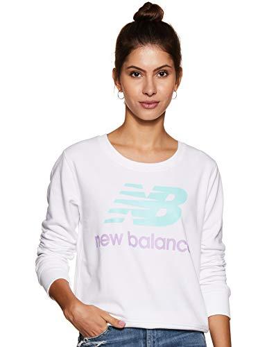 New Balance WT91585 Essentials Crew Pullover (Damen), Damen, Sweatshirt mit Rundhalsabschnitt, Wt91585, weiß, Medium