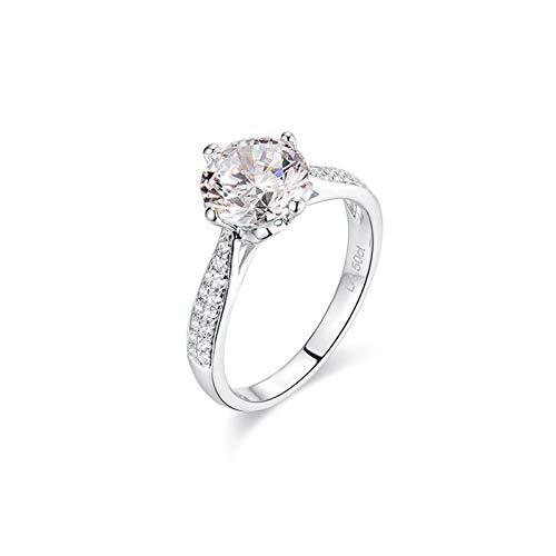 Bishilin Ring 585 Weißgold für Damen 4-Steg-Krappenfassung Moissanit 1.2ct Verlobungsring Ring Hochzeit Weißgold mit Diamant Gr.54 (17.2)