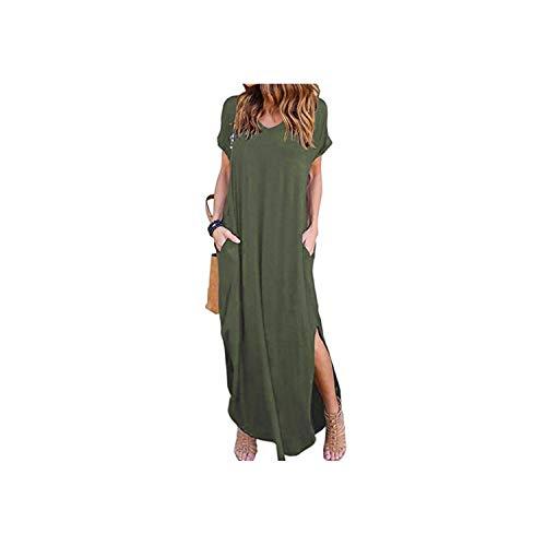 Waroom-Store Womens Loose Summer Beach Gallus Short Sleeves Floor-Length Long Dress,Army Green,XL
