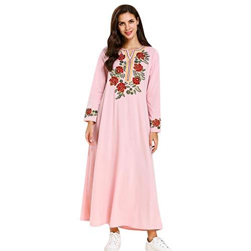 Lazzboy Retro Frauen Muslimischen Islamischen Abaya Kleid Kleidung Gedruckt Blume Lady Muslime Dubai Robe Abend Strickjacke Lange Stich - Damen Kimono Urlaub Nachtwäsche...