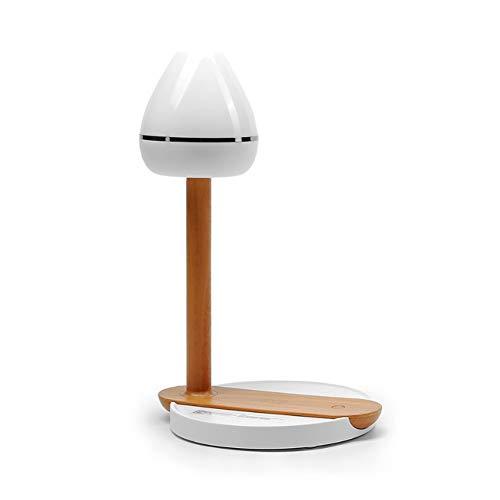 DAKANG Draadloze led-bureaulamp met oplader, slaapkamer nachtkastje met USB-licht, touch-schakelaar, oogbescherming, dimbaar