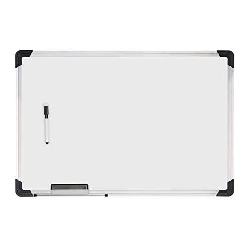 Relaxdays Whiteboard, mit Schwamm und Marker, magnetisch, mit Alurahmen, für Meetings, Workshops, Büro, 40 x 60 cm, weiß